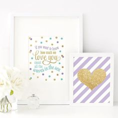 If you want to know how much we love you count all the waves in the sea, Printable Girls Room Art Mermaid Sign Lilac Purple Audrey Blue Gold by SprinkledDesigns.com