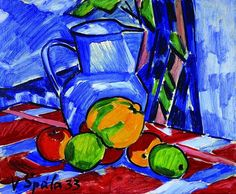 Still life with apples and blue jug par Václav Spala