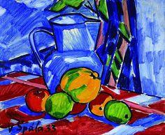 Still life with apples and blue jug par Václav Spala
