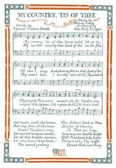 My Country Tis of Thee Patriotic Images, Patriotic Crafts, I Love America, God Bless America, Independance Day, Sheet Music, Music Sheets, Piano Sheet, Music Crafts