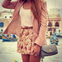 Cute Skirt Outfits | skirt shirt flower flowered skirt dress ring bag pink cute outfit ...
