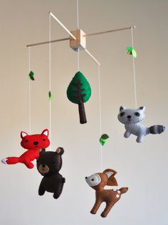 Hanging Woodland Creatures Mobile  Fox Deer Raccoon by CarrotFever, $70.00