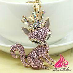Beautiful Unique Novelty Rhinestone Crown Fox Keyring Fashion Crystal Metal Animal Rings Holder Gift Jewelry Floating Keychain