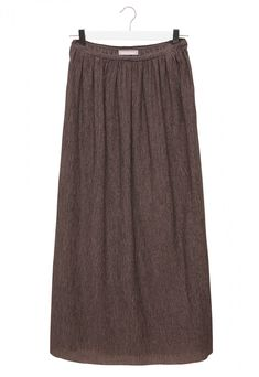 """Long lyocell skirt. The fabric has a a special """"crinkle"""" effect. Waist opening with invisible zip and gathered motif. Slightly flared straight design. Ankle-length."""