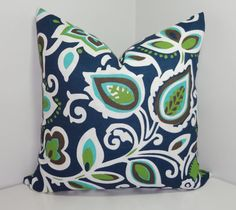 OUTDOOR Pillow Cover Navy Blue Green Floral Pillow by HomeLiving