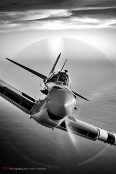 Eddie Kurdziel flies his Fairey Firefly AS.Mk 6 number behind a North American Mitchell bomber named Executive Sweet off the coast of San Diego, California. Ww2 Aircraft, Fighter Aircraft, Military Aircraft, Fighter Jets, Ww2 Fighter Planes, Avion Cargo, Spitfire Supermarine, Photo Avion, Ww2 Planes