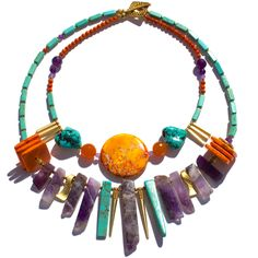 I DREAMT I WAS THE QUEEN OF FRANCE! ($AUD 299 free global shipping) This luxurious and bold one of a kind necklace is made from the following semi-precious stones and findings: Amethyst from Russia & Hong Kong ,Turquoise (stabilised and dyed) from Hong Kong, Magnesite from Hong Kong, Carnelian from India, Agates from Brazil, Imperial Jasper from Hong Kong, 22k Gold-plated beads from Turkey & 16k findings from Canada and USA