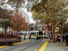 Light rail train in downtown Sacramento, CA