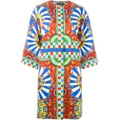 Dolce & Gabbana Carretto Siciliano Print Coat ($2,995) ❤ liked on Polyvore featuring outerwear, coats, red, colorful coat, red coat, multi colored coat, dolce gabbana coat and dolce&gabbana