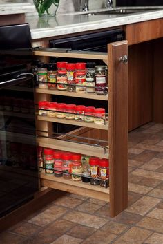 Image result for pull out wooden spice rack kitchen