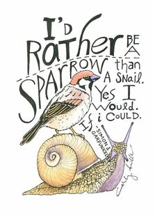 "Items similar to Color Print of ""I'd Rather Be A Sparrow Than A Snail."" by Carly Sills on Etsy Jacques A Dit, Neutral Milk Hotel, Music Film, Uk Music, Condor, Lyrics To Live By, Simon Garfunkel, Happy Hippie, After Life"