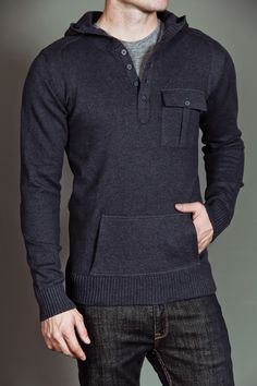 Civil Society Ringo: Men's L/S Hooded Sweater Heather Navy