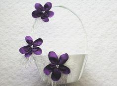 Flowergirl Basket  White Flower Girl Basket  Flower by IDoDoodads, $26.95