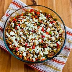 An easy and delicious vegetarian casserole of baked lentils with tomatoes, peppers, and Feta.  [#SouthBeachDiet friendly from Kalyn's Kitchen]