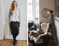 Leather skirt, white top, grey cardigan. Via Passions for Fashion blog.