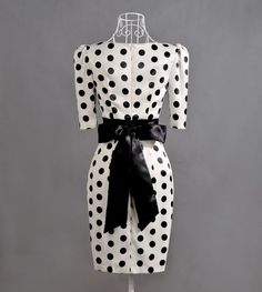 50er Rockabilly Stift Kleid weiß schwarz Punkte M 38-122