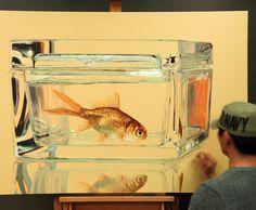 Progress^^ #김영성 #극사실 #물고기 #개구리 #달팽이 #극사실주의 #현대미술 #ykim #YoungsungKim #Hyperrealism #hyperrealistic #oil #painting #drawing #contemporary #art #handpainted #environment #frog #snail #insect #goldfish #animal #sculpture #museum #artgallery #gecko #progress #yellow #glass