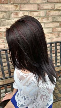 Black with red highlights  #Black #Red #Highlights #Hair