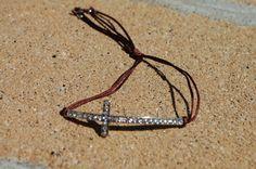 Curved Side Cross Bracelet Silver with by StringofLove on Etsy, $16.00