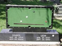 ...guessing this pool table tombstone was hubby's idea...