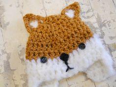 Crochet Baby Fox Hat. $23.00, via Etsy.
