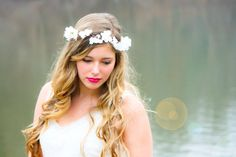 cherry blossom flower crown bridal headpiece by serenitycrystal