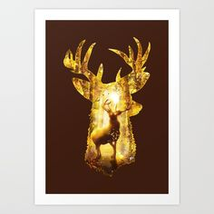 Deer's Woods, by Diogo Veríssimo #dverissimo #illustration #silhouette #digital #drawing #scenic #fantasy #nature #scenic #light #magic #woods #deer #forest #golden #fall #autumn #woods #stag #animal #trees #antlers #trees