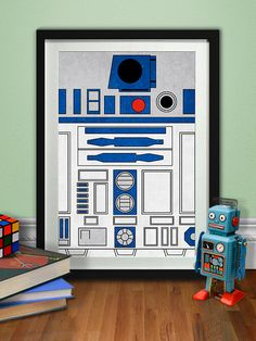 R2D2 Art Print, Star Wars Poster, Jedi, Sith, Geeky, Printable, Digital Download, Light Saber, Grunge, Robots, Movies