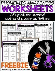 FREE Phonemic Awareness Worksheets. No prep, cut and paste PICTURE-BASED printable phonemic awareness activities. There are no letters/words on the page to ensure that students are practicing HEARING sounds and words. | early reading activities | phonemic awareness strategies struggling readers pre reading activities