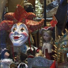 "Venetian mask makers often create dolls and marionettes as well (Photo copyright Stillman Rogers) in ""Shopping for Masks and Crafts in Venice's San Polo"" by Barbara Radcliffe Rogers. venetian masks"