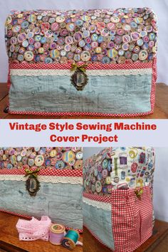 Sew this vintage style sewing machine cover to protect your machine. Vintage Sewing Notions, Vintage Sewing Machines, Sewing Spaces, Sewing Rooms, Crafts To Make, Diy Crafts, Vintage Style, Vintage Fashion, Sewing To Sell
