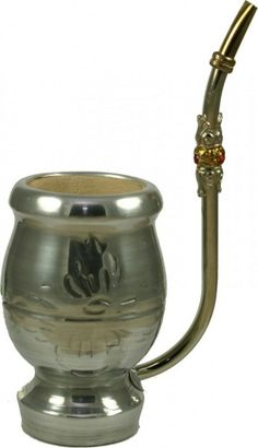 """La Pipa: All in One Yerba Mate Gourd and Bombilla -- A true conversation starter!  La pipa, or """"the pipe,"""" is a unique all-in-one yerba mate gourd and bombilla.  The long bombilla, embellished with metal engraving, curves its way into the gourd, secured at the base with a ball filter.  The wood gourd is wrapped in aluminum with subtle engraving. Small size is great for personal use."""