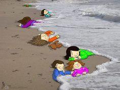 """Precisamos falar sobre os refugiados. Jamais dar as costas a uma questão humanitária para """"defender o território"""". Defender de quem? Cabe aos governos e a cada um de nós, também combater, ativamente, manifestações racistas e xenófobas que eventualmente possam surgir. Ilustração homenageia Aylan Kurdi, menino sírio que morreu em praia na Turquia.  Fotografia: Reprodução / Facebook…"""