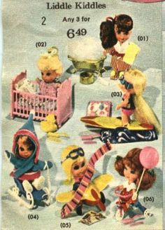 I remember little Kiddles-They were my favorite toys! I even had a little Helicopter/Car that the top blade went around when you pushed it! I think it was orange & yellow!