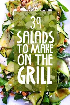 39 Salads To Make On The Grill (with recipes!), because vegetables and fruits deserve grill marks too! Included: grilled summer squash, tomato and couscous salad; grilled plum salad with purple basil, blue cheese and balsamic vinaigrette; grilled kale salad with beets, figs and ricotta; and of course, grilled peach salad. YES!