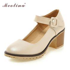 Meotina Shoes Women Round Toe Chunky High Heels Mary Janes Causal Ladies Shoes Comfort Thick Heels White Beige Black 34-43 9 10  #instalike #dress #streetstyle #stylish #instafashion #sweet #pretty #glam #cool #fashion