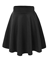 Flirty flare Skirt MBJ WB829 Womens Flirty Flare Skirt L BLACK Flirty flare Skirt, a flirty flare skirt that you can easily dress up or keep it casual. Made out of soft but with stretch knit fabric, it features an self banded waistband and tonal stitching. This skirt comes in an array of colors.   #Vampire Slave Bracelet #womens bracelets silver