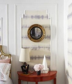 DIY Fabric Wallpaper Treatment by Megan Pflug of One Kings Lane on Design*Sponge Fabric Wallpaper, Of Wallpaper, Temporary Wallpaper, Wall Fabric, Dyi, How To Look Rich, Idee Diy, Removable Wall, Beautiful Mess