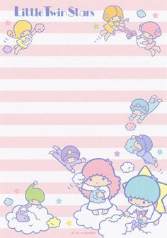 Little Twin Stars memo pad as courtesy of Sanrio Little Twin Stars, Little Star, Sailor Moon Background, Star Illustration, Printable Scrapbook Paper, Cute Stationary, Cute Notes, Hello Kitty Wallpaper, Cute Cartoon Wallpapers