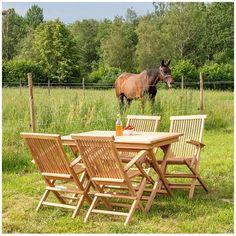 Fint og klassisk havebord i massiv teaktræ Outdoor Chairs, Outdoor Furniture Sets, Outdoor Decor, Mug, Teak, Home Decor, Nature, Garden Chairs, Mugs