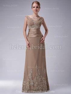 A-Line V-Neck Long / Floor-Length Chiffon Elastic Silk-like Satin Mother of The Bride Dress - MD2996 - US$ 189.99
