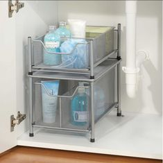 under the sink silver cabinet drawer storage organizer kitchen bathroom home new