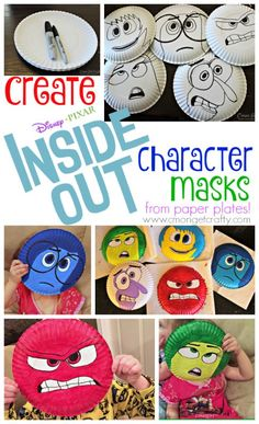 Add to the fun of Disney Pixar's Inside Out by making these fun character masks! Add to the fun of exploring emotions with Disney's Inside Out by making these fun Inside Out character masks! Inside Out Emotions, Inside Out Characters, Feelings And Emotions, Emotions Activities, Activities For Kids, Teaching Emotions, Feelings Preschool, Mental Health Activities, Disney Activities