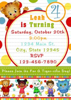 Cute Daniel Tigers Neighborhood Digital Birthday Party Invitation