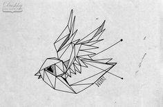 bird swallow tattoo sticker geometry illustration by dushky