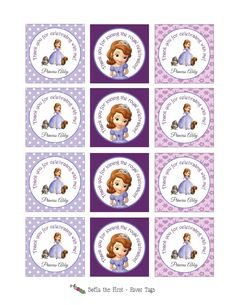 Printable SOFIA THE FIRST Stickers or Gift Tags (Great to be used as Party Favor Tags or even Cupcake Toppers)