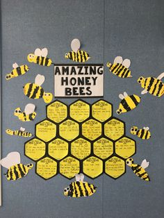 Bee Craft Template Honey bee info written on hexagons and collage bees. The kids loved it! Bees For Kids, Bee Crafts For Kids, Summer Crafts, Preschool Crafts, Projects For Kids, Art For Kids, Easy Crafts, Bee Bulletin Boards, Bee Activities