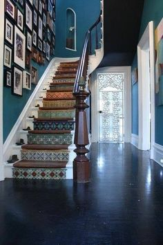 Our Favorite Creative Entryways and Staircases - dream house ideas decor ideas stairways Tiled Staircase, Metal Stairs, Painted Stairs, Staircase Design, Tile Stairs, Staircase Ideas, Hallway Ideas, Mosaic Stairs, House Staircase