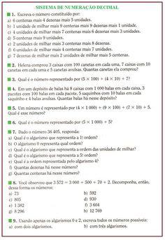Atividades com o Sistema de Numeração decimal | Rérida Maria Math Class, Professor, Marketing, School, Harry Potter, Scrapbook, Class Activities, I Hate Math, 5th Grade Math