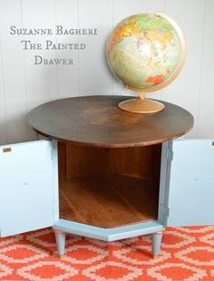 Mid-Century Modern Table by Suzanne Bagheri in General Finishes milk paint General Finishes Milk Paint, Table, Table Makeover, Painted Table, Mid Century Table, Thrifting, Vintage Hardware, Home Decor, Painted Drawers